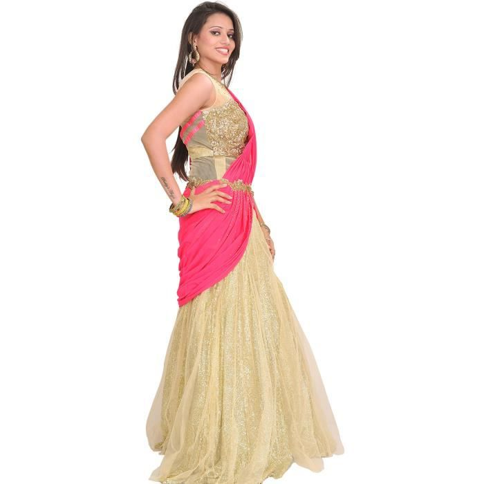 Womens Golden And Pink Designer One-piece Dress With Sequins All-ov - Gold XK2VF Taille-34