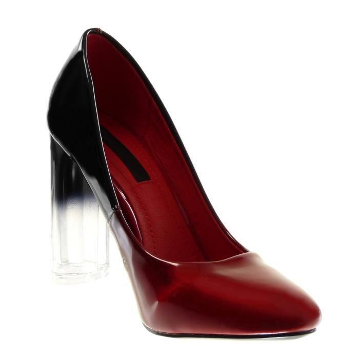 Angkorly - Chaussure Mode Escarpin slip-on Decolleté femme dégradé de couleurBicolore verni Talon haut bloc 10 CM - Rouge -