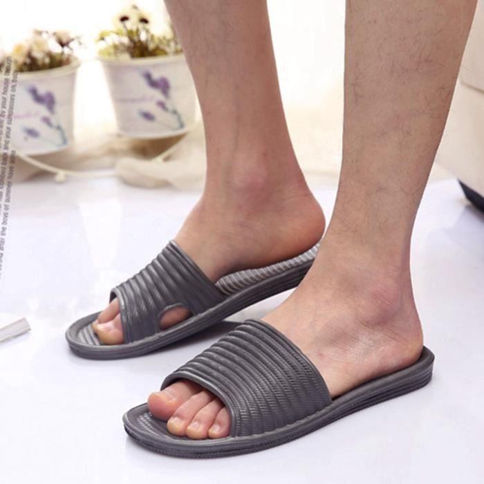 42 Homme Femme Jiyaru EU Pantoufle TM0065 de Confortable Salle Sandales Chaussons Antidérapage Gris Maison Bain qtHOZpw