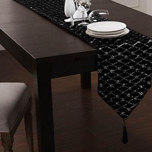 chemin de table noir argent achat vente pas cher. Black Bedroom Furniture Sets. Home Design Ideas
