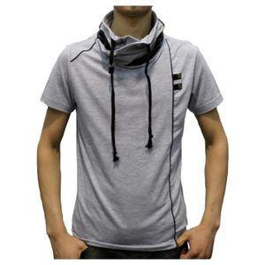 T-SHIRT T-shirt homme col montant gris