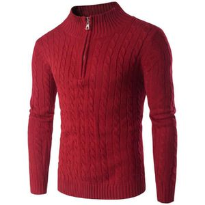 PULL Pull Braided Homme Rouge Demi-zip Marque Luxe Pour
