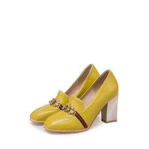 Escarpin Femmes Pompes Faddish bout carré épais talon haut chaussures coupe-bas 7002410 9EuSd9