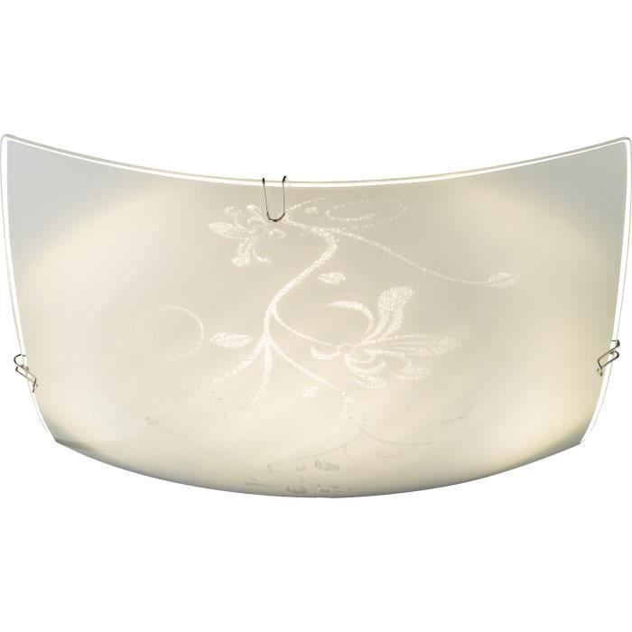 Plafonnier métal blanc - verre blanc - LxWxH:240x240x60 - Ampoule incluse - 1xLED 8W 230V - 650lm - 3500KPLAFONNIER