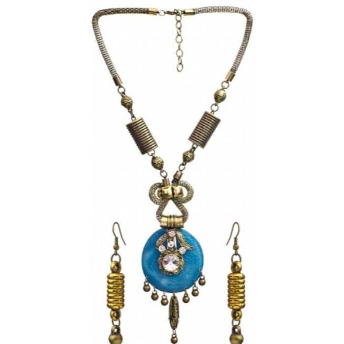 Collier de perles de multi-couleur des femmes avec boucles doreilles - alliage de cuivre avec verre Cut CC6II