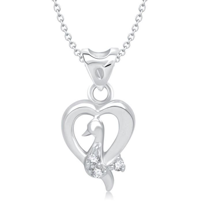 Coeur Valentine Love Bird Femmes Forme rhodié Pendentif - P1195r [vkp1195r] GRK3O