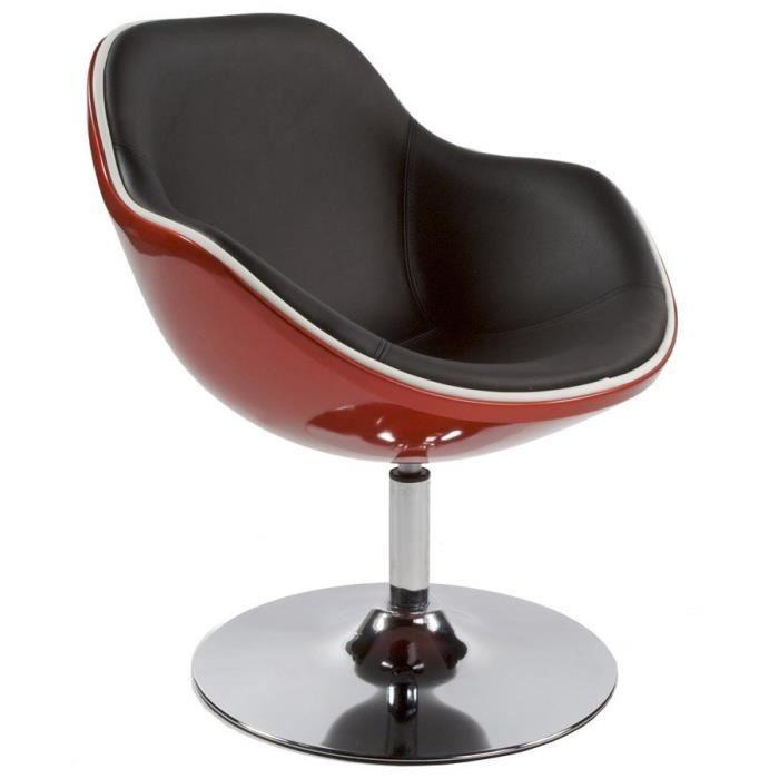 Fauteuil Pivotant Design Coque Rouge Skaï Noir Achat Vente - Fauteuil tournant design