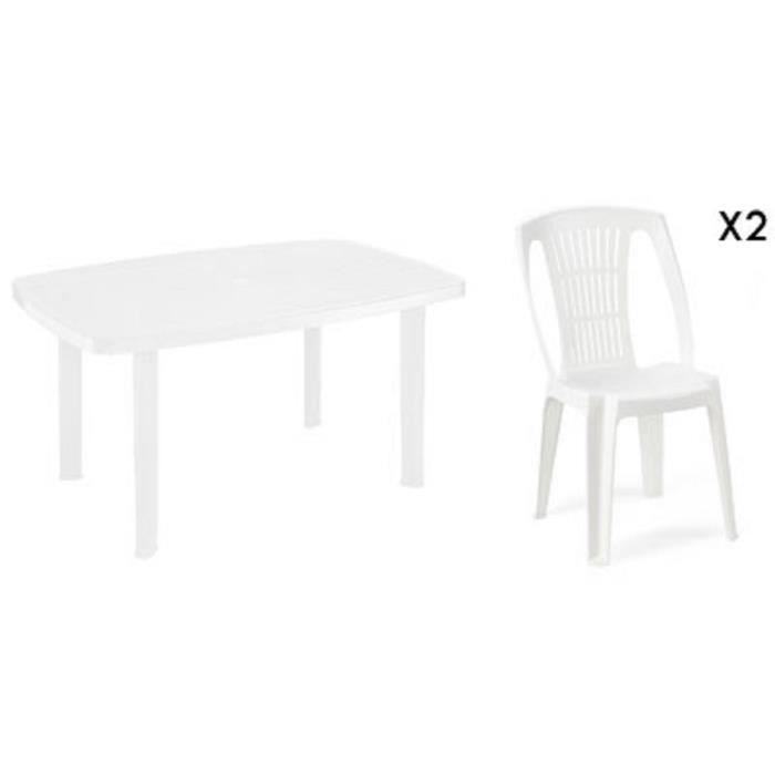 Table rectangulaire blanche + 2 chaises jardin plastique blanc ...