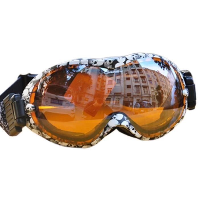 Lentilles sphériques professionnels Snowboard Lunettes de ski anti-buée Skull vZcI78g