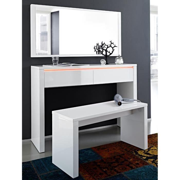 Console Murale Blanc Laqué Brillant Design Nelly Console Et Miroir