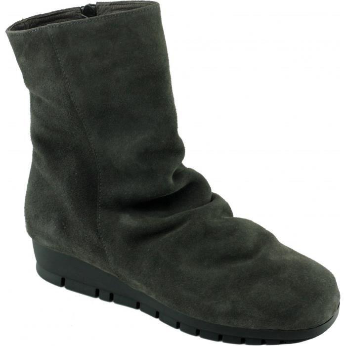 fdcb1c669d6434 CITY - Bottines compensées cuir Plissé grand confort chaussures Femme pied  sensible marque Aérobics cuir velours froissé gris