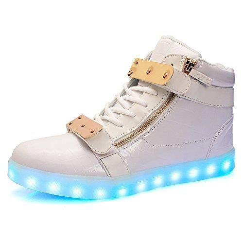 Led Light Up Chaussures 11 Couleurs haute Baskets montantes Flashing pour hommes et des femmes TUF0P Taille-39 1-2