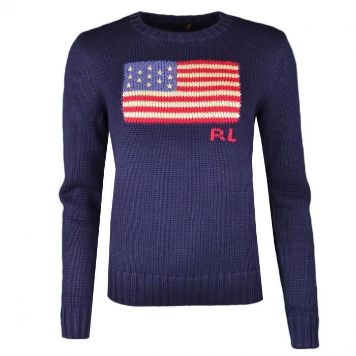 Pull maille col rond Ralph Lauren drapeau bleu marine pour femme - Taille   L - Couleur  Bleu 1ff1df37d13