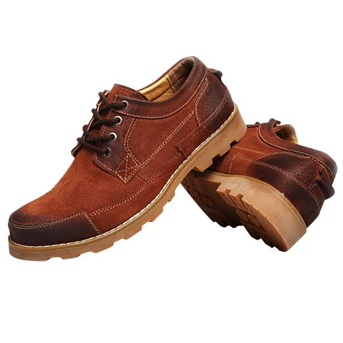 Mocassin Homme Lacet Rétro Style Britannique Plate-forme Confortable Casual Mode HEE GRAND By0nP0I