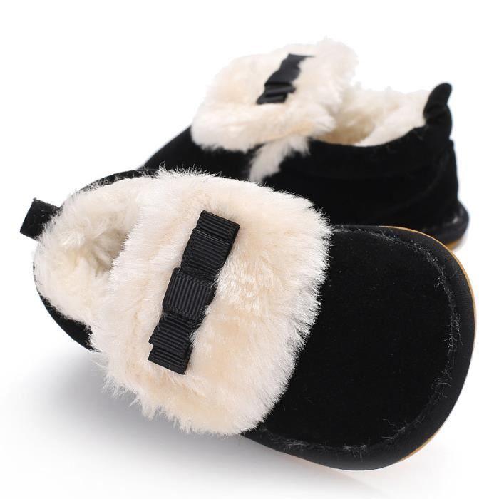 Nouveau Hiver Garde au chaud bébé Chaussures basses Chaussures de bébé en bas âge-Noir PWk4u
