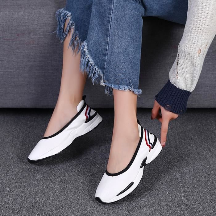 Casual Respirant Sneakers Flats Mocassins Mode Chaussures Femmes Shoes Slip Blanc Lazy qw6XOgHp