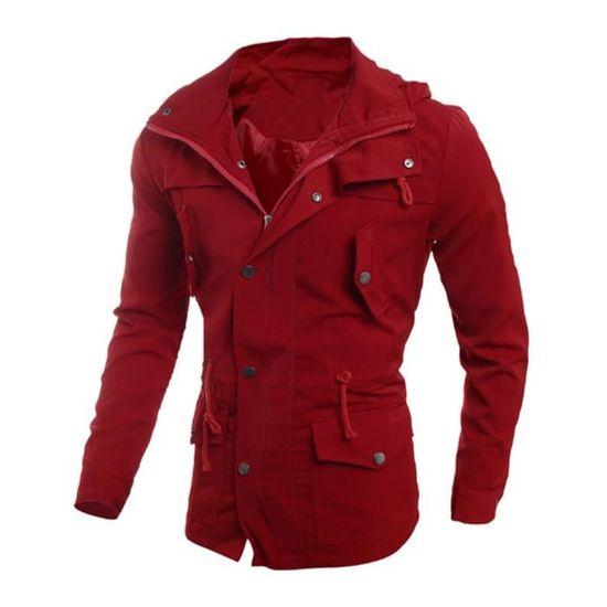 Veste Homme Mode Pardessus Casual Manteau Rouge Noir Outwear Slim 6ZUxUqw