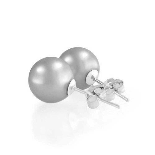 Clous DOreilles Perles Simulées Couleur Grise Argent Sterling 10Mm
