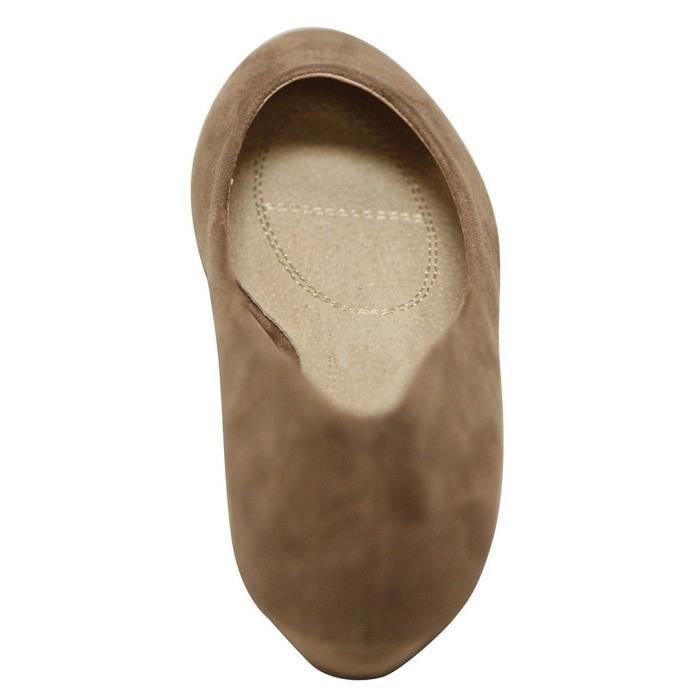 Slip On Ballet Wedge Flats Low Mid talon compensé Chaussures bateau Bellarina Chaussures plates YTS4C Taille-38