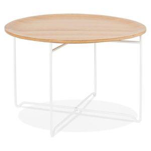 TABLE BASSE HO - Table basse de salon blanche en bois et métal