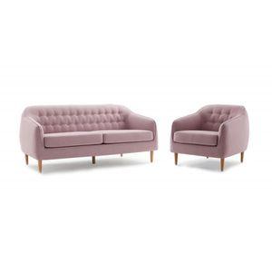 FAUTEUIL Ensemble Canapé 3 places et fauteuil tissu rose co