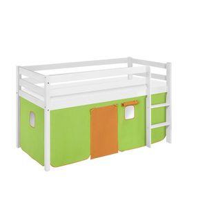 LIT MEZZANINE Lit surélevé ludique JELLE vert orange - avec ride