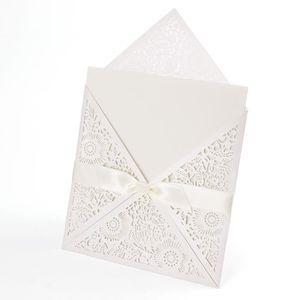 10x Invitation De Mariage Dentenlle Fleur Noeud Ruban Enveloppe 666 Faire Part