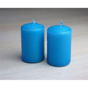 BOUGIE DÉCORATIVE 2 bougies turquoise D4cm Ht 6cm