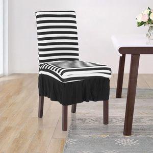 HOUSSE DE CHAISE Housse De Chaise Pliss Noir Blanc Stripes Volant