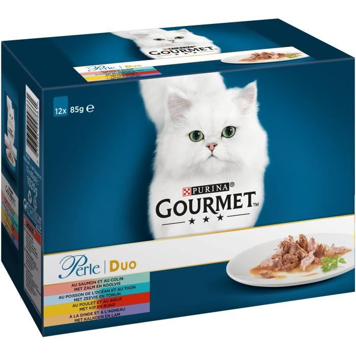 GOURMET PERLE Duo mer & viande - Pour chat - 12x85g