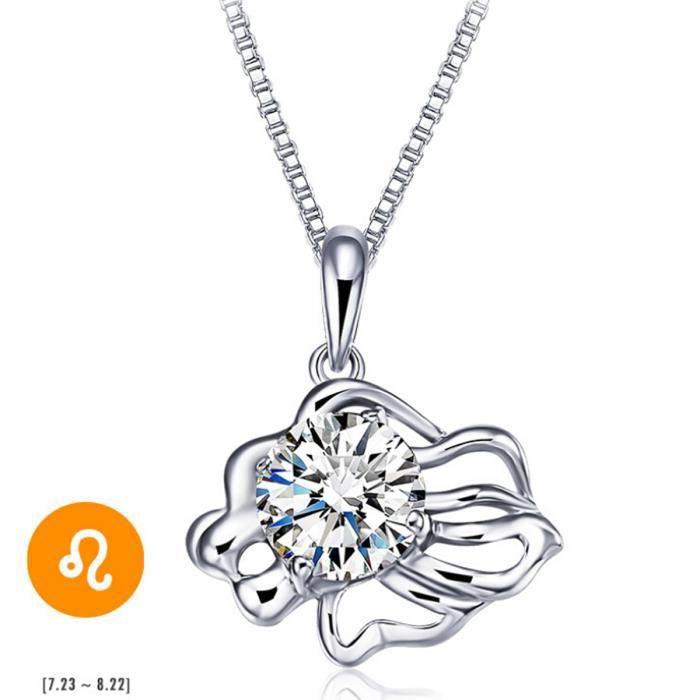 Collier femme ou fille Pendentif Signe Astrologique Zodiaque -Lion-Cristal -Blanc zircone-45CM Argent Fin