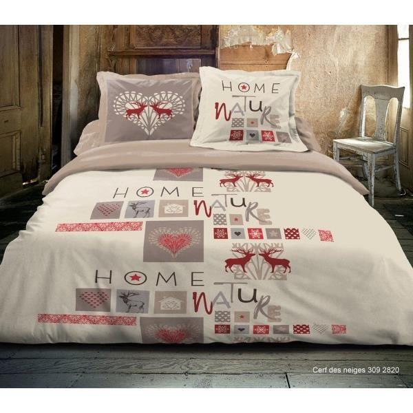 housse de couette montagne rouge 240x260 cerf des neiges achat vente housse de couette. Black Bedroom Furniture Sets. Home Design Ideas