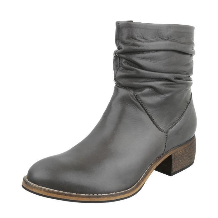 Femme chaussures bottillon cuir bottes noir 41