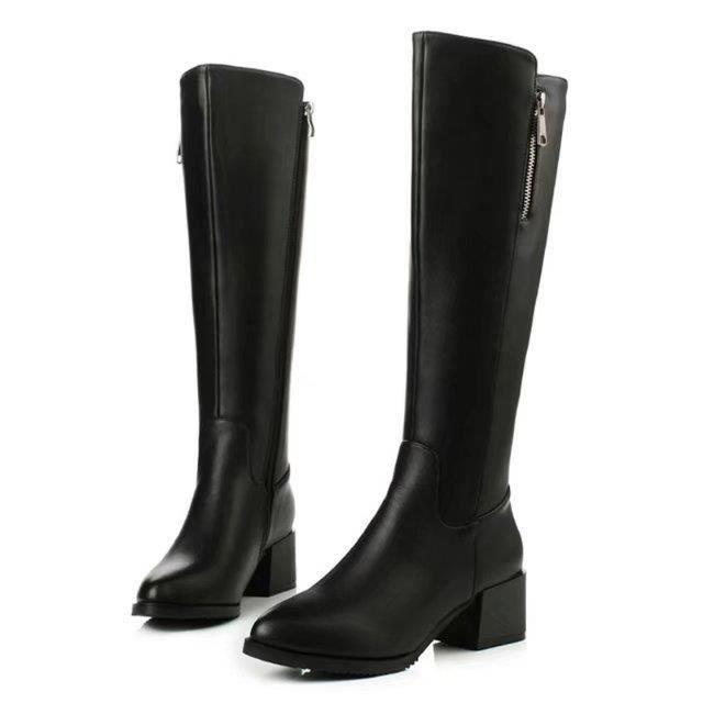 bottes longues noires femmes bottes en cuir en peluche courtes pour femmes fermeture à glissière décontractée garder des bottes