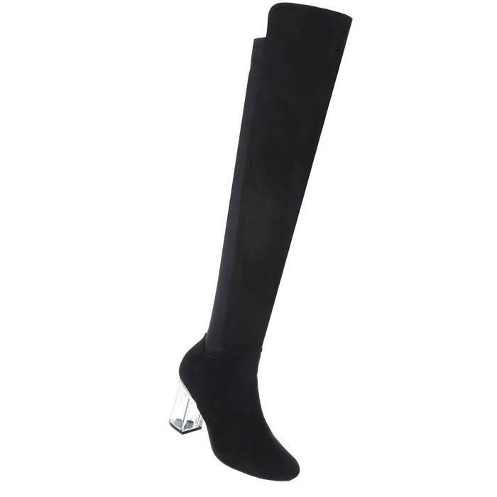 Chaussures femmes Bottes Overknee High Heels noir 39
