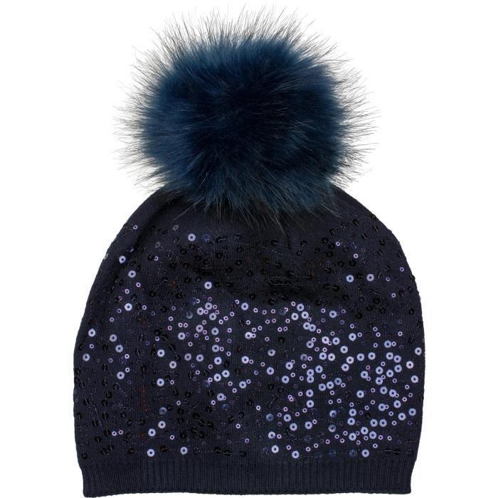 4331a4c57e8c styleBREAKER bonnet à pompon et à mailles fines, paillettes et pompon en fausse  fourrure amovible, bonnet à pompon, femme 04024134