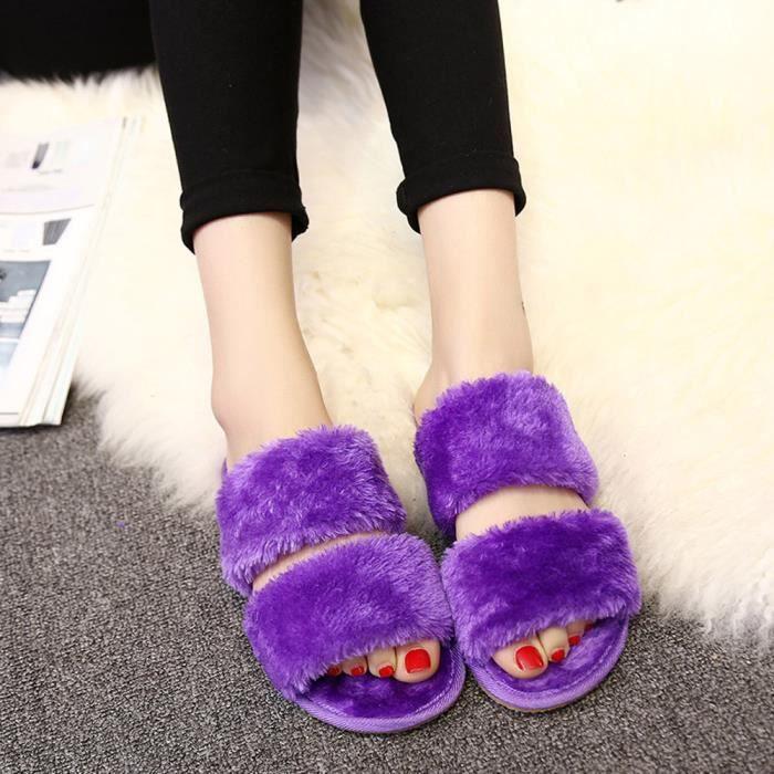 Sur Fourrure Chausson Pilerty®unisexe Sliders Faux Xxl70831495pp Femmes Plat Violet Slip Fluffy Hommes q44Rt0Bx