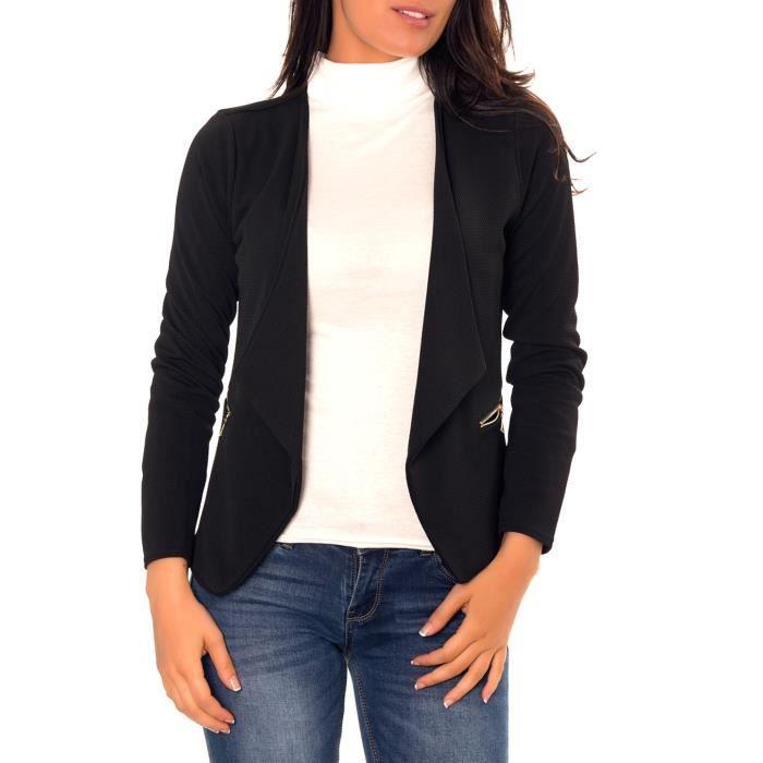 b5b3914ebb8ed dmarkez-vous - Veste de BLAZER femme avec poches et zip doré - (TU - noir)