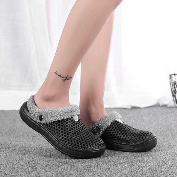 De Couple Pantoufles Chaussures Femmes Au Intérieur Chambre Sol noir Chaud Antidérapants D'hiver Garder wwvEfqRr