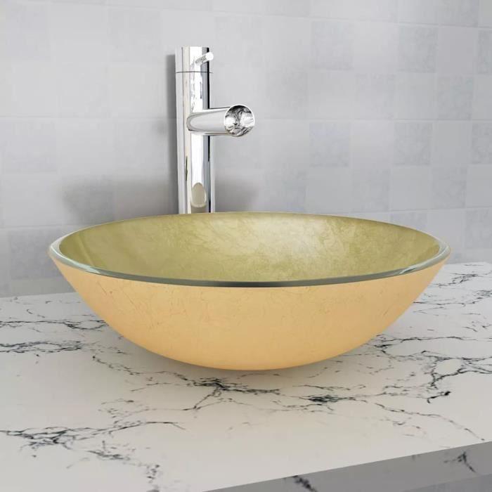 Incroyable Lavabo Verre Trempé 42 Cm Doré Vasque à Poser Vasque à Trou Lavabo Pour  Robinet Salle De Bain