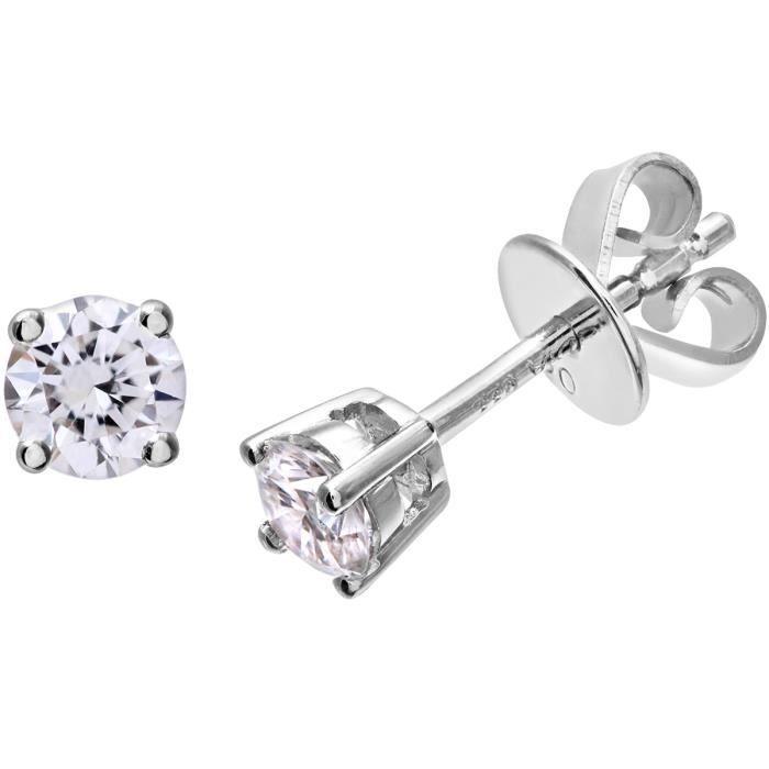 Revoni - Boucles d'oreilles clous en or blanc 18 carats et diamants IJ-I - REVCDPE01372W18JPK
