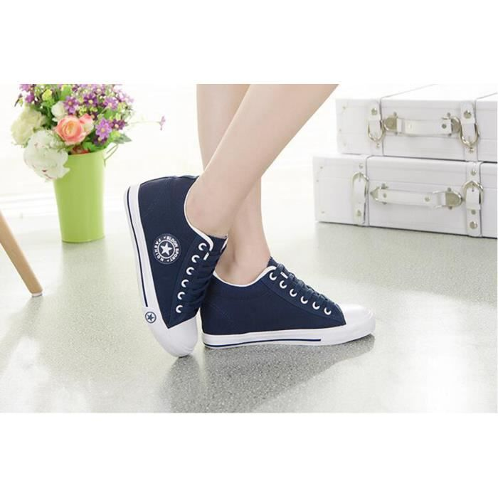 Chaussures Solide Femmes Toile Lace up Mode wFxttY