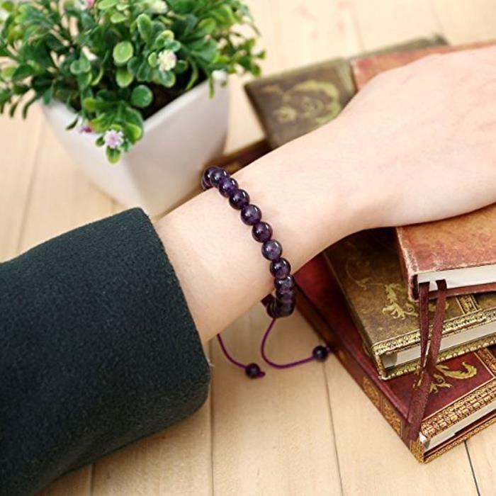 8Mm Ethnique Tibétain Bracelet Réglable Pièrre Améthyste Cordon Trissé Et Noeud Chinois Taille Ajustable 16.5Cm