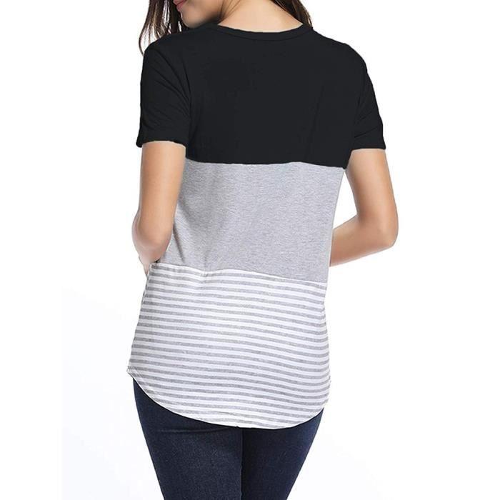 Manches shirt Color Rayé Casual Triple Noir Block Courtes M Top Femmes Chemisier T ZWnBTadq