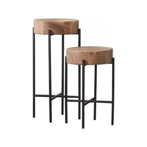 TABLE BASSE Ensemble de 2 tables d'appoints rondes avec 2 croi