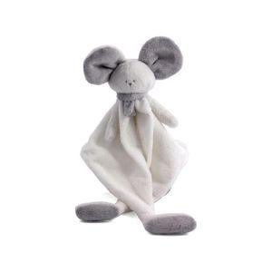 DOUDOU Mona doudou blanc&grisclair, souris doudou