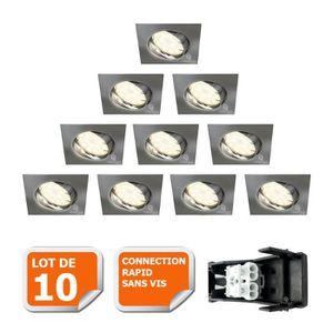 SPOTS - LIGNE DE SPOTS LOT DE 10 SPOT ENCASTRABLE ORIENTABLE LED CARRE AL