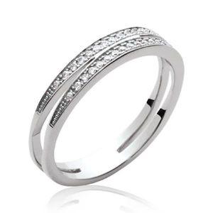 BAGUE - ANNEAU Alliance double anneau femme - argent massif 925/0