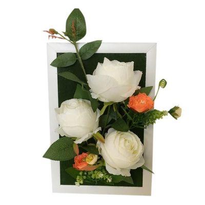 simulation cadre photo avec rose fleurs artificielles fleur 7
