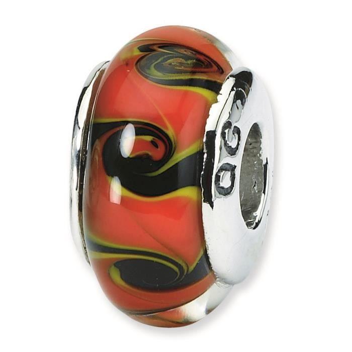 Ster. reflets Rouge et Noir-Argent-Perle en verre de Murano Charm